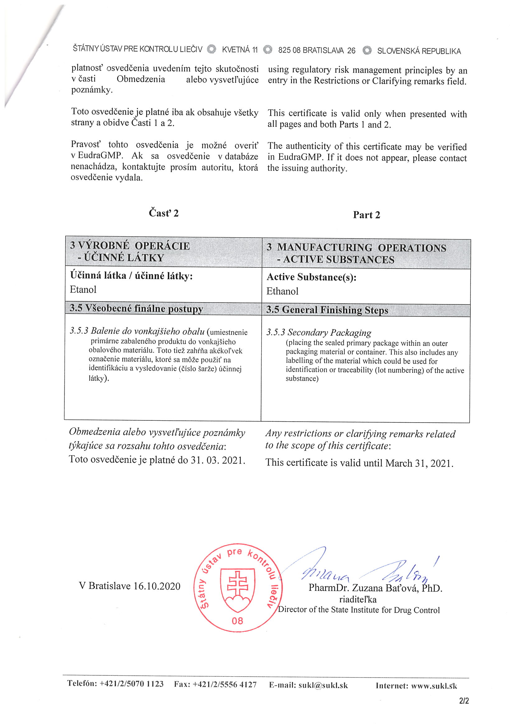 Certifikát ŠÚKL